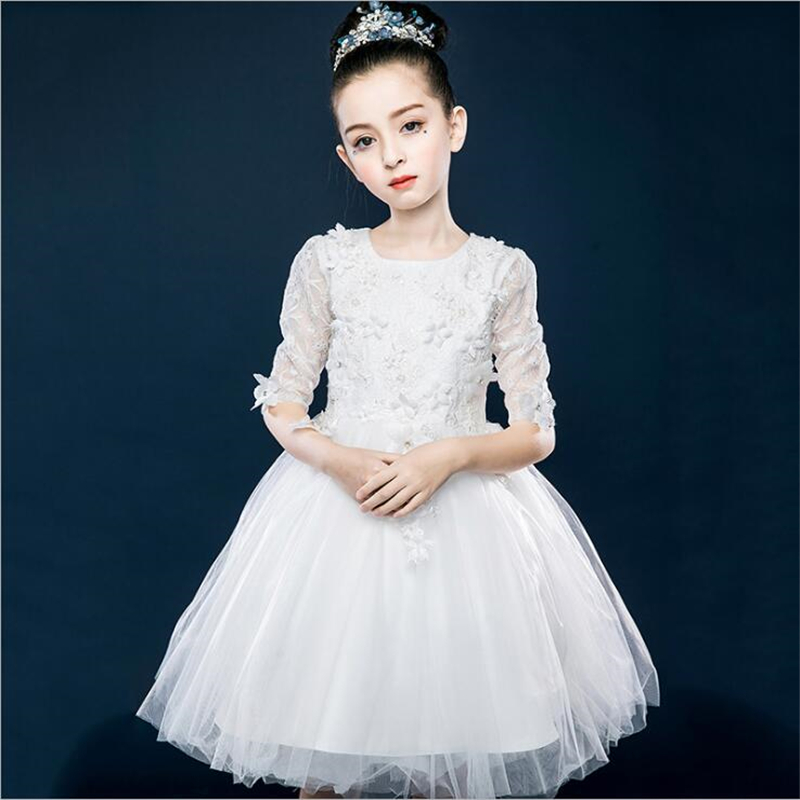 Princess Dress 2018 New Arrivals Summer Children Half Sleeve Mesh Wedding Dress Performing Dress Girl Party Dresses For 4-14T half dress roobins half dress