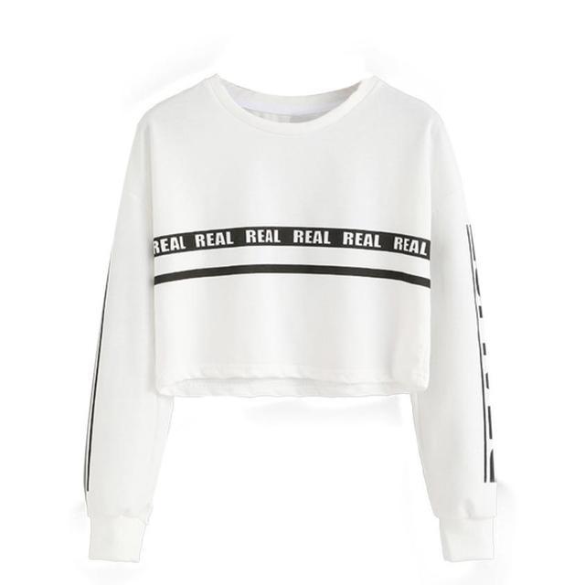 New Brand Fashion Crop Top Sweatshirt Women Fashion Letter Print Crop Sudaderas Mujer Women Hoodies Sweatshirts Top GHC