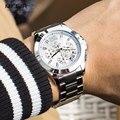 Часы MEGIR мужские  стальные  водонепроницаемые  24-часовые  с секундомером  модные  кварцевые  наручные часы для деловых мужчин 5006G-7