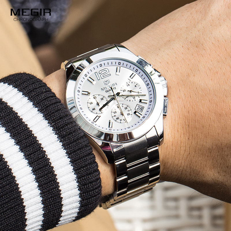 MEGIR Men's Steel Waterproof 24-hour Stopwatches Clock Relojios Fashion Chronograph Quartz Wrist Watch For Business Man 5006G-7