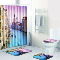 The 4 sets bathroom carpet and rug Shower City night scene Toilet seat cover bathroom non slip carpet and shower curtain