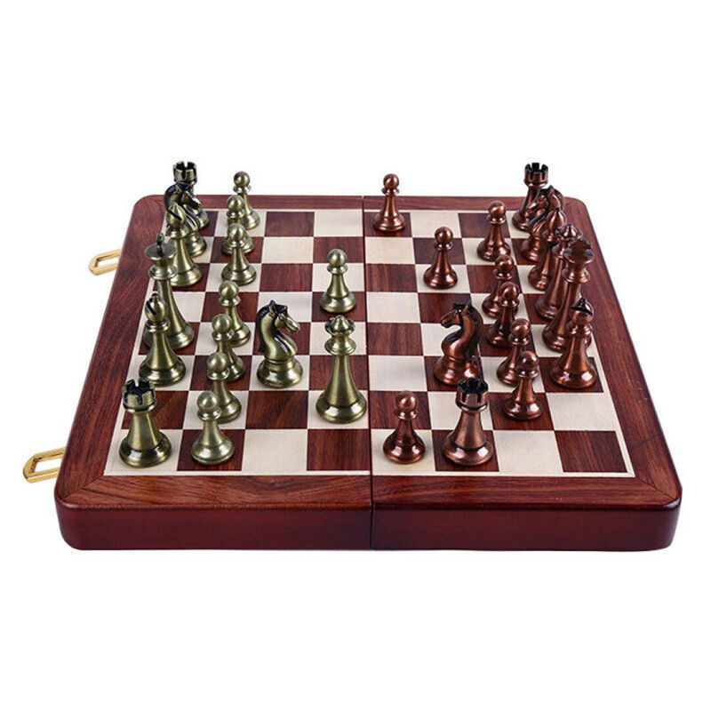 High-end Retro Alloy Chess Pieces Wooden Folding Chessboard Chess Game Set King 6.5cm Best gift for Leaders Friends Family