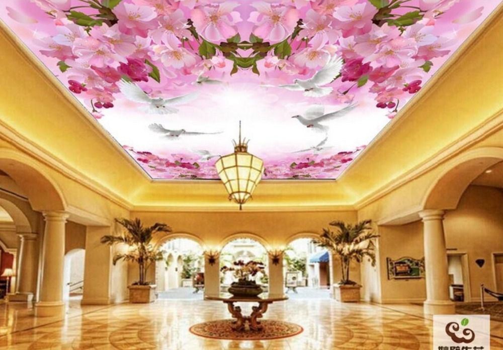 Custom Japanese-style Blue Sky White Clouds Cherry Tree Beautiful Ceiling Wallpaper Murals Room custom ceiling wallpaper blue sky and white clouds murals for the living room apartment ceiling background wall vinyl wallpaper