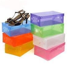 5PCS children/women/men Foldable Clear Plastic Shoe Storage Box Transparent Stackable Organizers Wholesale