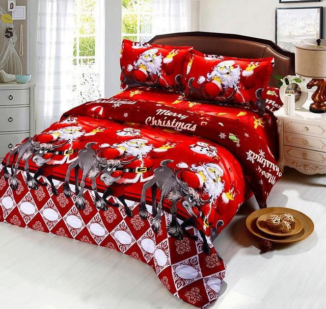 Hot Sale Christmas Bedding Set Santa Claus Cartoon Duvet Cover Flat ...