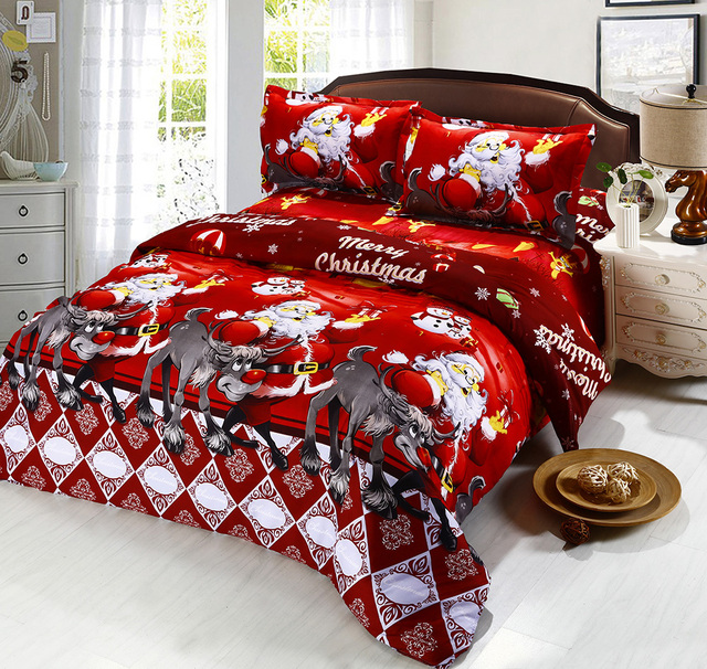 Red Christmas Bedding Set Cartoon Deer Duvet Cover King Queen Bed Sheets Flat