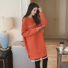 2017 autumn and winter new pregnant women's shirt lace stitching plus velvet thick sweater pregnant women dress