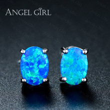 Angel Girl 2016 Blue/White Fire Opal Stud Earrings for Women wholesale White Gold Color fashion Wedding jewelry E0078-WW