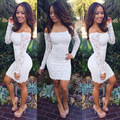 Black white lace dress europa sexy uma palavra colarinho strapless pacote hip mini dress nightclub dress feminino