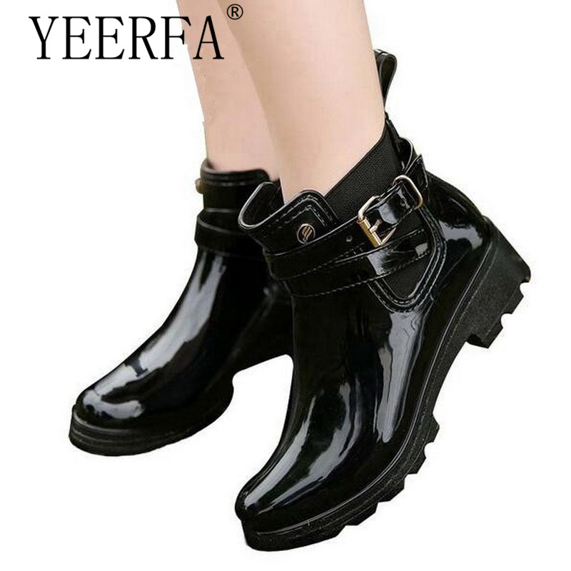 YIERFA Rubber Shoes Women Rain Boots For Girls Ladies Walking Waterproof PVC Women Boots Winter Woman Ankle Martins Rainboots pu leather martins women boots snow boots military girls for casual walking shoes winter femme bota 2017 7687