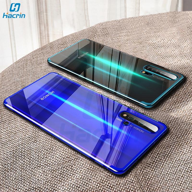 Hacrin étui pour huawei Honor 20 Pro étui souple TPU Transparent clair couverture de placage Laser pour Honor 20 étui complet de protection pare-chocs