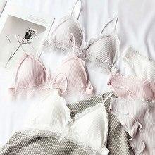 Lady pamuk rahat genç kızlar intimates küçük sütyen pad kablosuz Bralette Külot Seti kadın iç çamaşırı iç çamaşırı takım elbise