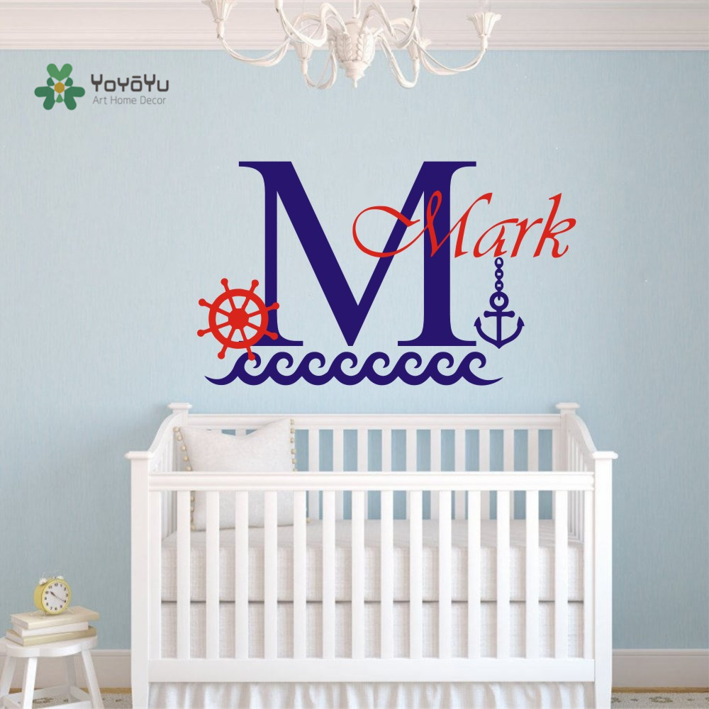 Personalize Customize Name Boys Room Wall Decal Boat Anchor Sea Wall - Home Decor