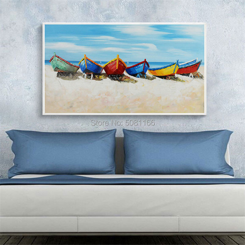 Handmade Abstract colorful boat Oil Paintings sandy beach seaside view Modern Home Decoration blue sea Wall Art Pictures gift