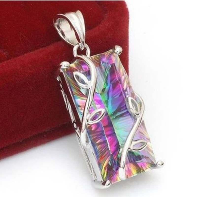 Rainbow crystal pendant necklaces 2