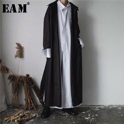 Женская рубашка EAM, однотонная черная и белая блузка с отворотом, универсальная длинная, YC044, осень 2020