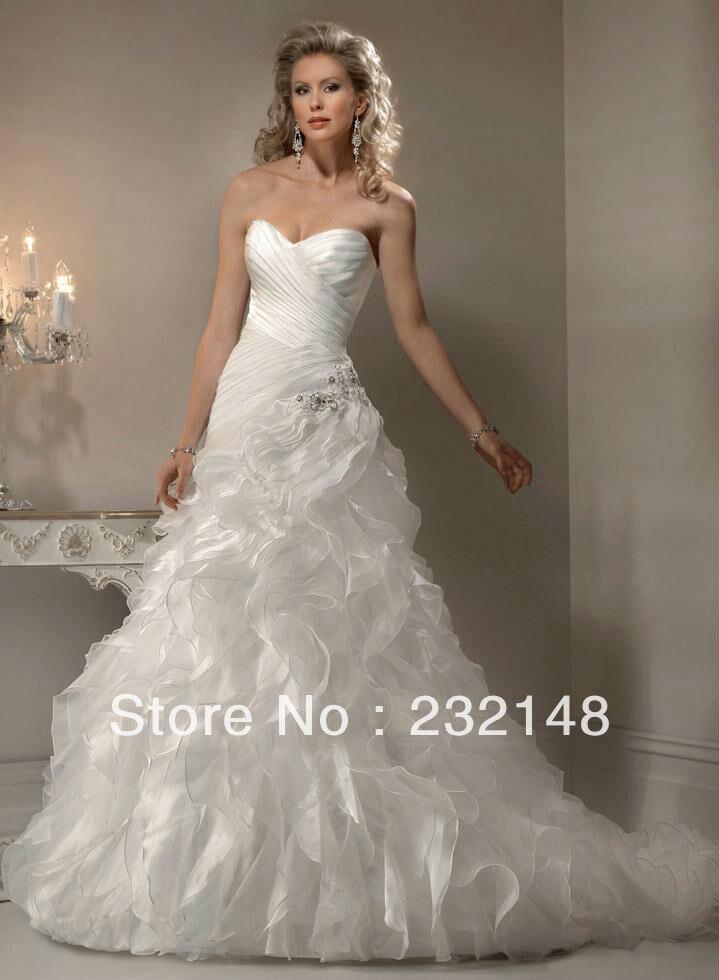 fashionable high quality custom made affordable designer with crystal organza ruffle fluffy bridal wedding dress
