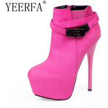 YIERFA Fashion Women Ankle Boots High Heels Platform Pumps Suede Buckle Stiletto Thin Heels Ankle Boots Red Bottoms Short Boots