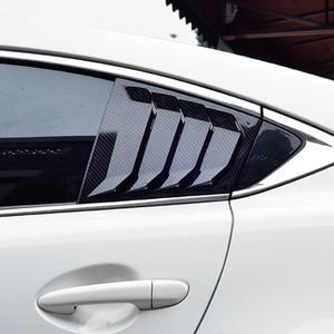 Image 2 - Para Mazda 6 ATENZA 2014, 2015, 2016, 2017, 2018 de fibra de carbono ABS ventana trasera Hanlde triángulo cubierta de cuenco accesorios de estilo de coche 2 uds