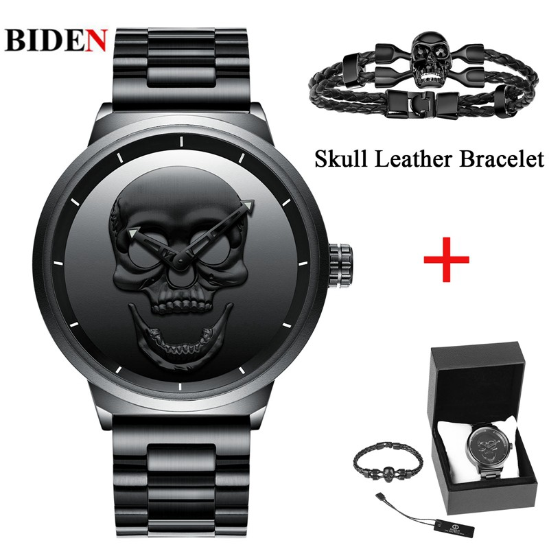 Men's Watch BIDEN Cool Bone Luxury Brand Pirate Skeleton Skull Watch Men Clock Man Retro Fashion Steel Sports Military Relogios cool skull style ox bone bracelets 2 pack