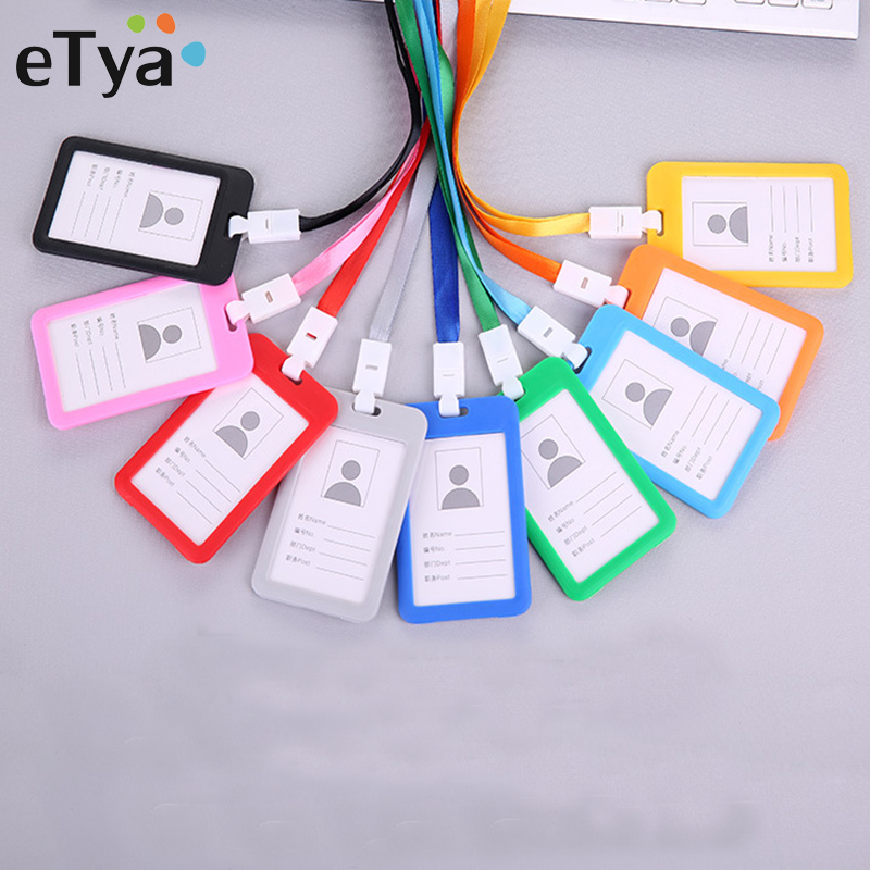 ETya Men Women Business Card Holder Identity Badge Name Tag Neck Strap Credit Card Holders Bank Card Bus ID Holders Case Hot