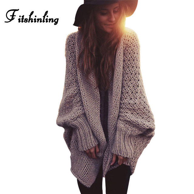 Fitshinling BOHO חורף סוודרים לנשים oversize עטלף שרוול סוודרים ארוך קרדיגן נקבה סרוג בגדי חאקי מעילים