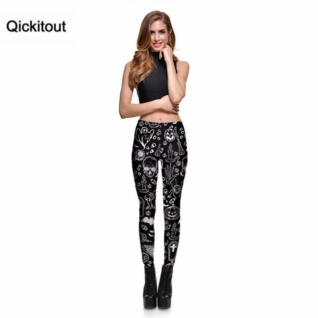 Qickitout Leggings Halloween Day SEXY New Women's Legging Ghost Skull Pumpkin Palm Styles Digital Print Trousers Leggings