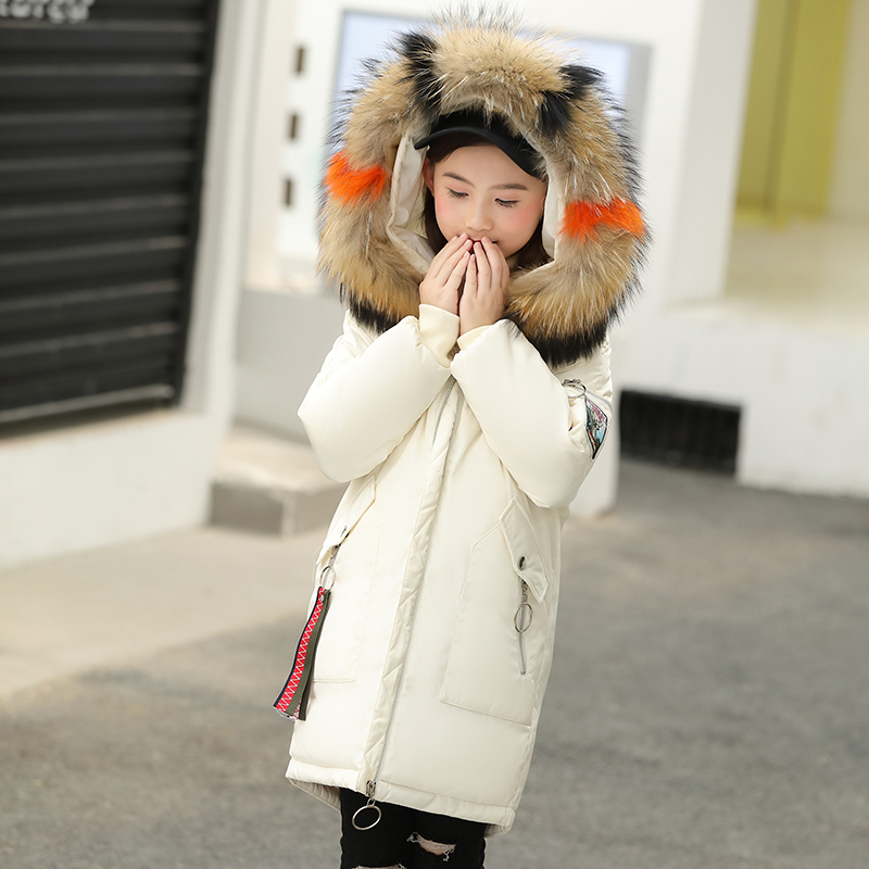 Winter warm jacket for Girls 80% white duck down jacket, white feather, 100% real hair collar, big boy, big hair collar coat. olgitum women s winter warm in the long section of slim was thin winter clothes tops down jacket big hair collar cc056