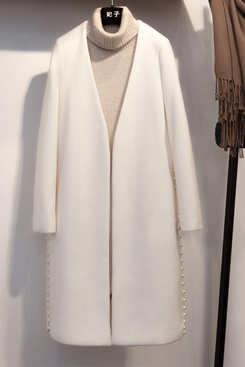 col Mode Blanc Nouvelle Longue Bureau De cou Laine V Manteau V D'hiver Perle Pardessus Printemps 2018 Dame Solide coréen Femmes E1rvfrqF