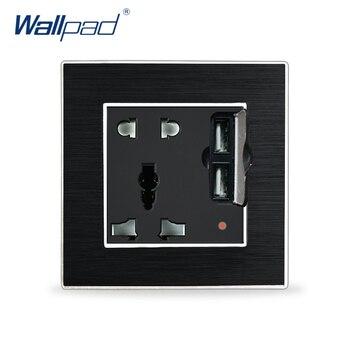 Enchufe Universal de 5 pines con enchufe Usb en la pared, Panel de Metal satinado de aluminio de lujo, enchufe Universal con pared USB salida