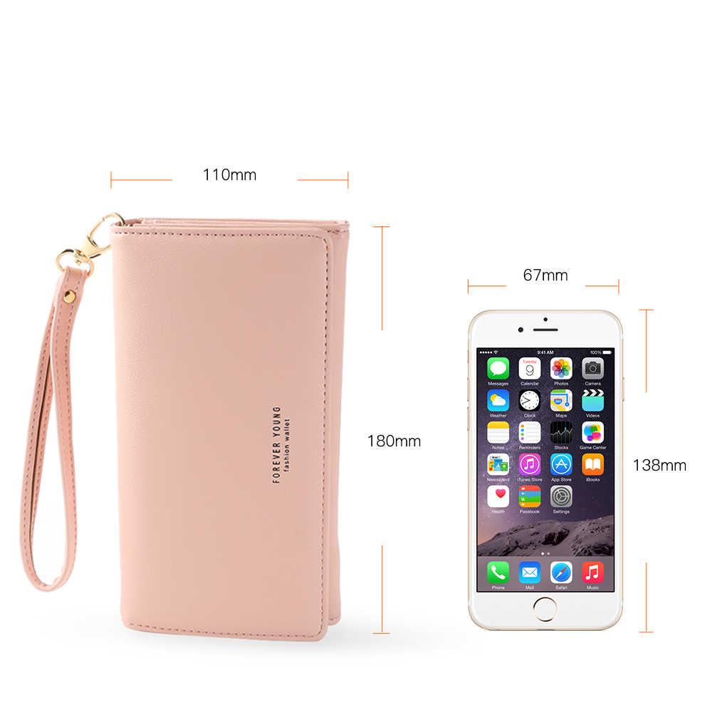 Fashion Women's Purse Thin Zipper Women's Wallet Ladies PU Leather Wallets Female Purse Case for iPhone Samsung Xiaomi LG fundas