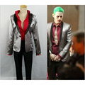 Custom-Made Men Suicide Squad Joker Costume Suit Silver Coat Psychos Killers Jacket For Halloween Party New