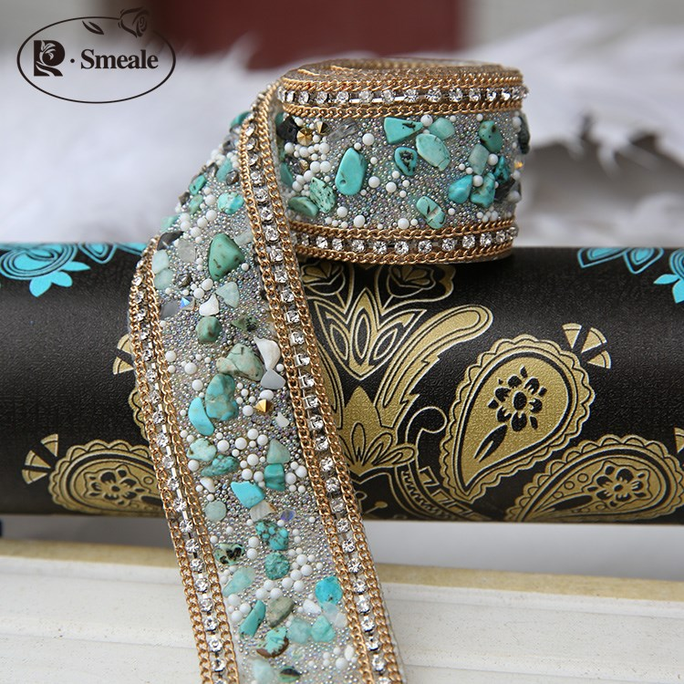1Yd Beaded Lace Trims Mesh Fabric Beaded Pearl Trim Sewing Craft Applique