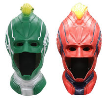 1 Piece 2019 Movie Captain Marvel Carol Danvers Cosplay Face Masks Superhero Latex Women Helmet Full Head Adult Props Halloween(China)