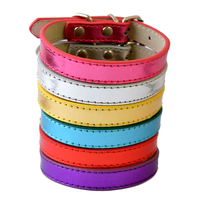 6Colors Big Sale Pu Leather Dog Collars For Small Dogs Adjustable Buckle Pet Puppy Dog Cat Collar Size XS S M