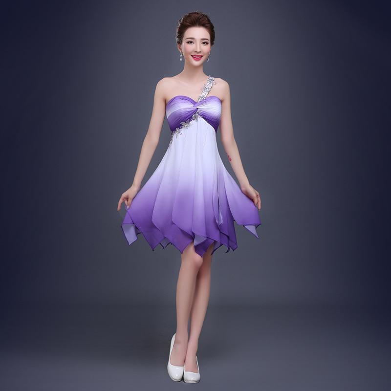2016 Fashion Del Color Del Gradiente Gasa de Un Hombro Crystal Sexy ...