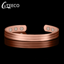 CUTEECO Fashion Rose Gold Color  Magnetic Copper Bangle Bracelet Healing Jewelry for Woman Men Accessories