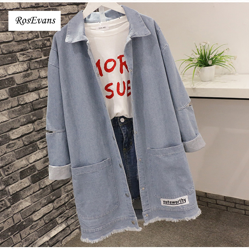 RosEvans Jeans Jacket Women Casacos Feminino Fashion Burr Denim Loose Vintage Big Pockets Jackets Lady 2017 Basic Coats B678 ...