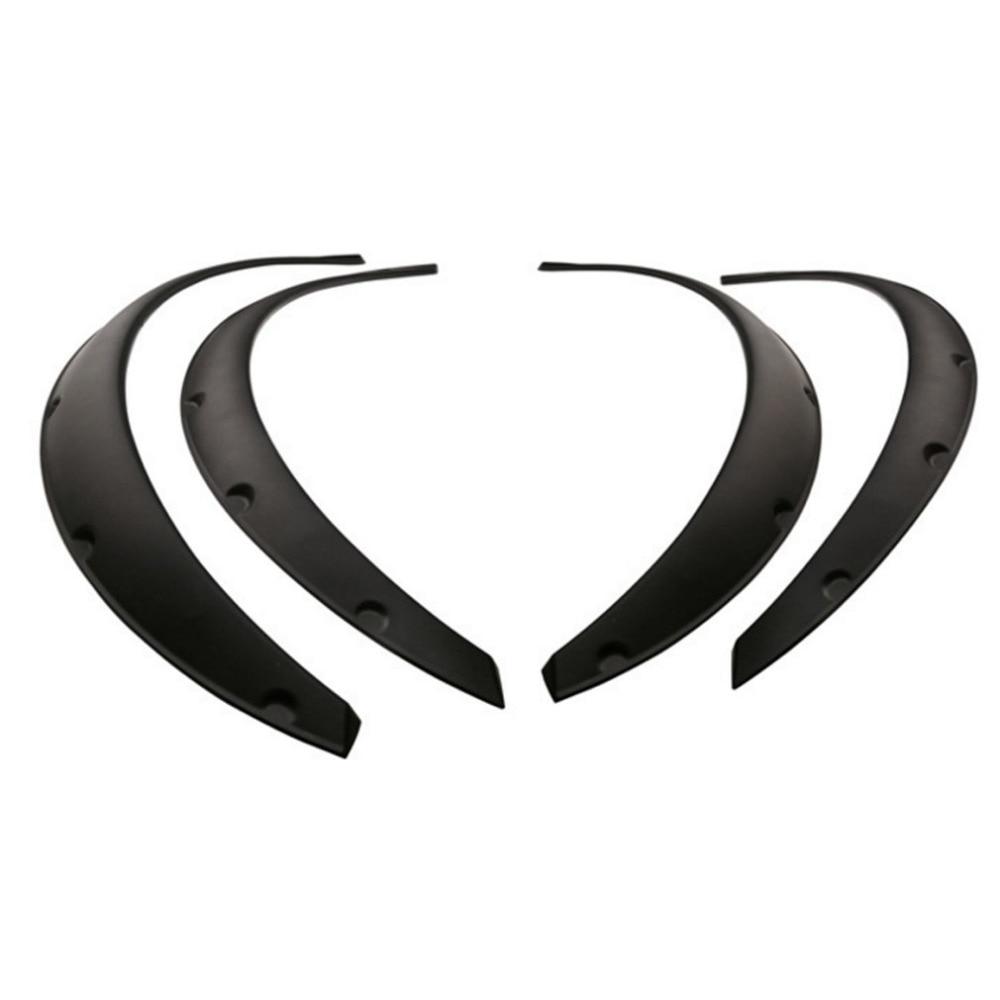 4Pcs Universal Flexible Car Fender Flares Extra Wide Body Wheel Arches Wheel black Eyebrow Protector Lip Sticker Trim