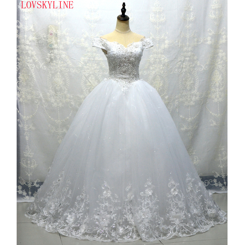 LOVSKYLINE 2018 Vestido De Noiva Custom Made LACE-UP Back Boat Neck Beaded Appliqued Sleeveless Lace Wedding Dress