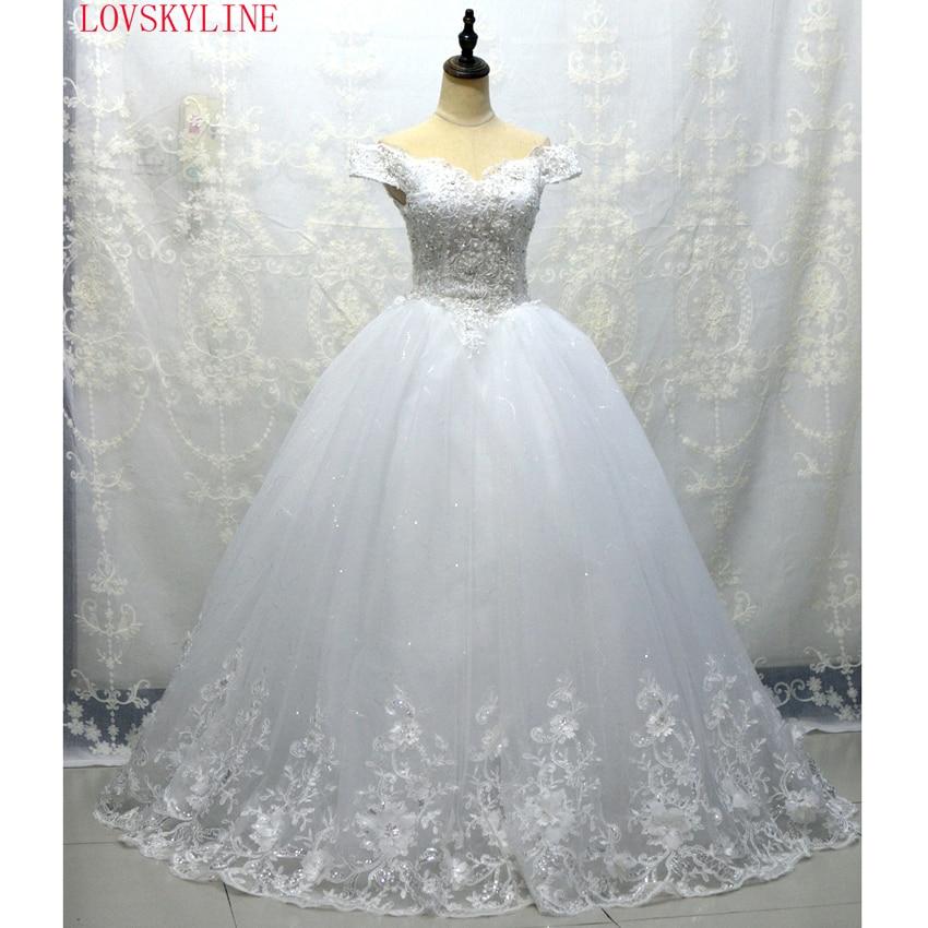 LOVSKYLINE  Vestido De Noiva Custom Made LACE-UP Back Boat Neck Beaded Appliqued Sleeveless Lace Wedding Dress
