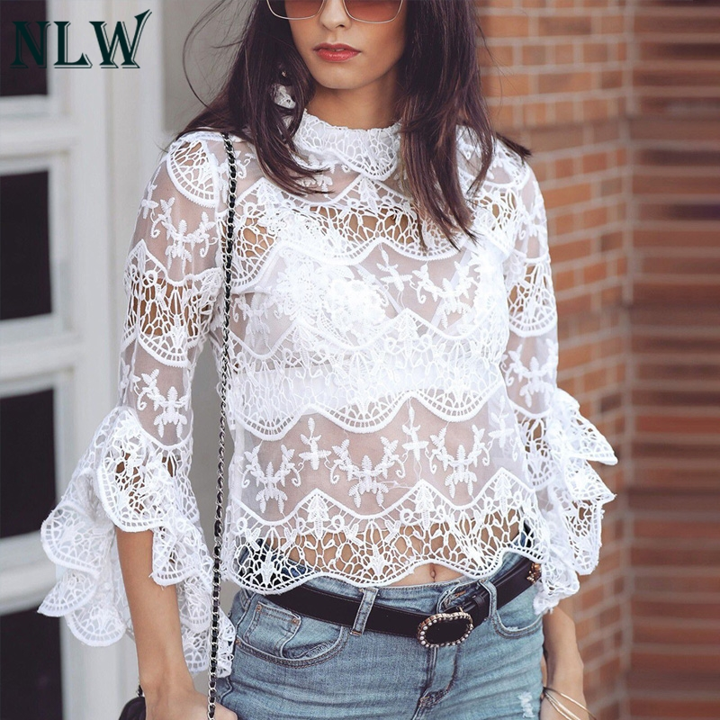 NLW Hollow Out Lace Crop Tops And Blouse Women White Sexy See Through Mesh Blouse Flare Long Sleeve Polyester Shirt Blusa