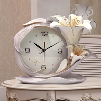 Modern Minimalist Embossed Lilium Brownii Desktop Clock Art Figurines Lilium Casa Blanca Home Decorative R1553