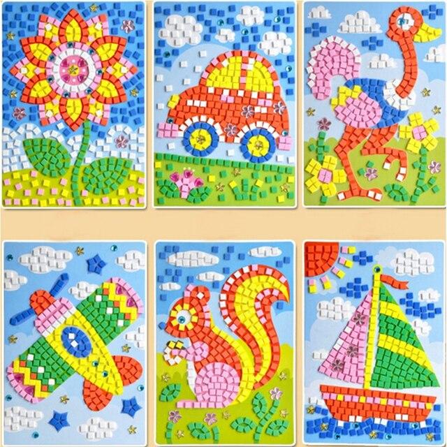 12 Gaya 3d Mosaik Seni Kreatif Stiker Hewan Permainan Transportasi