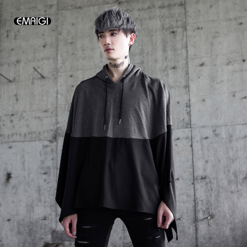 Autumn Winter New Punk Gothic Style Men Hooded Sweatshirt Fashion Loose Casual Cloak Pullover Hoodie Outerwear-in Hoodies & Sweatshirts from Men's Clothing    1