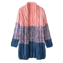 2016 Winter New Cute Candy Color Twist Gradient Color Loose Cardigan Coat Women Sweaters Knitting Open Stitch SWE025