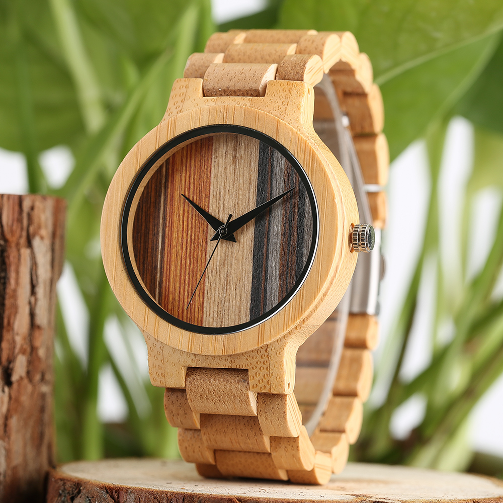 Nature Wood Watch Fashion Men's Wrist Watch Modern Bamboo Full Wood Band Handmade Fold Clasp Women Sport Clock Exquisite Watches yisuya classic nature full wood watch men casual sport wooden bamboo handmade creative watches women analog clock handmade gift