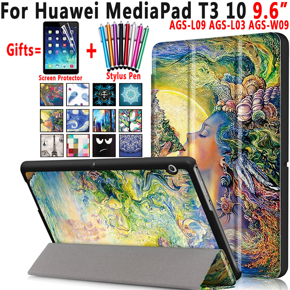 Famous Paintings Magnetic Leather Smart Auto Sleep Awake Shell Cover Case for Huawei Mediapad T3 10 9.6 inch Coque Capa Funda e reader case for onyx boox i63ml maxwell case cover coque shell funda hulle custodie