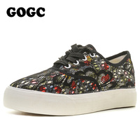 GOGC Floral Canvas Shoes For Women Comfortable Women S Shoes Lace Female Summer Shoes Footwear Soft