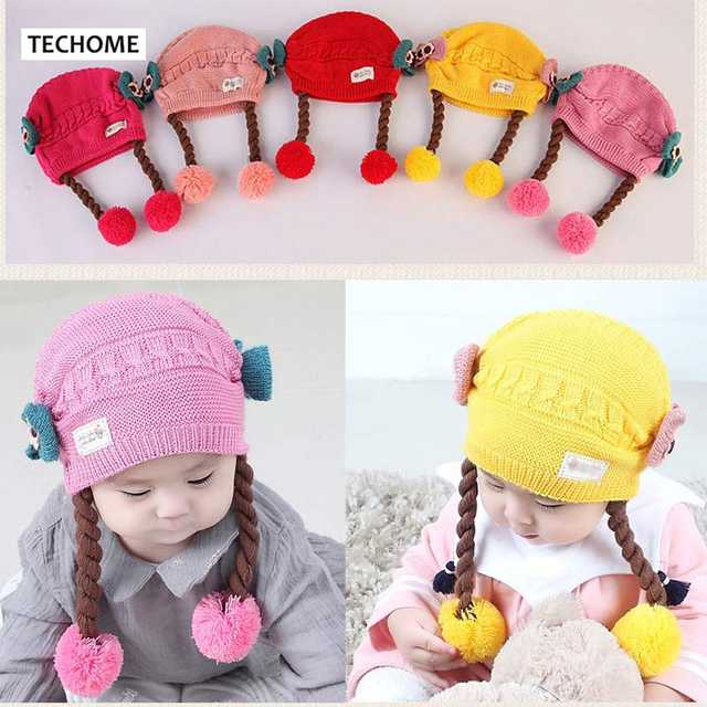 754dcb928d9 placeholder Cute Baby Wig Hats Bow-knot Children s Knitted Braids Hat For 3  to 18 Months